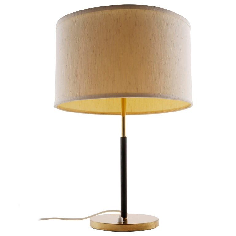 Mid-Century Modern Pair of Kalmar Table Lamps, Brass Leather, 1960s For Sale