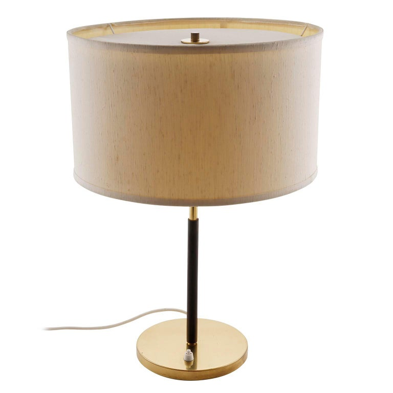 Austrian Pair of Kalmar Table Lamps, Brass Leather, 1960s For Sale
