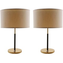 Pair of Kalmar Table Lamps, Brass Leather, 1960s