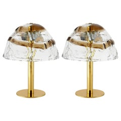 Pair of Kalmar Table Lamps 'Dom', Brass and Murano Glass, 1970