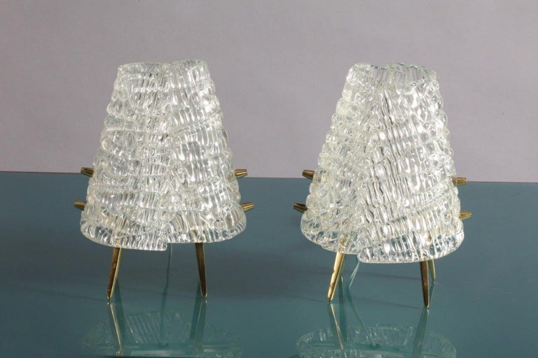 Mid-Century Modern Pair of Kalmar Tablelamps with Frostglass Shades Vienna, 1960 For Sale