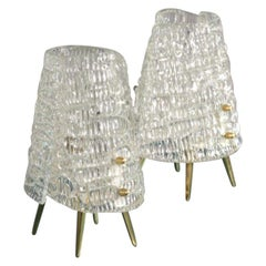 Pair of Kalmar Tablelamps with Frostglass Shades Vienna, 1960