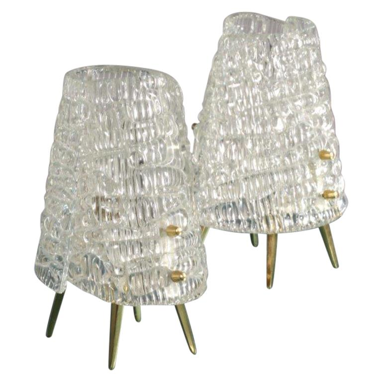 Pair of Kalmar Tablelamps with Frostglass Shades Vienna, 1960 For Sale