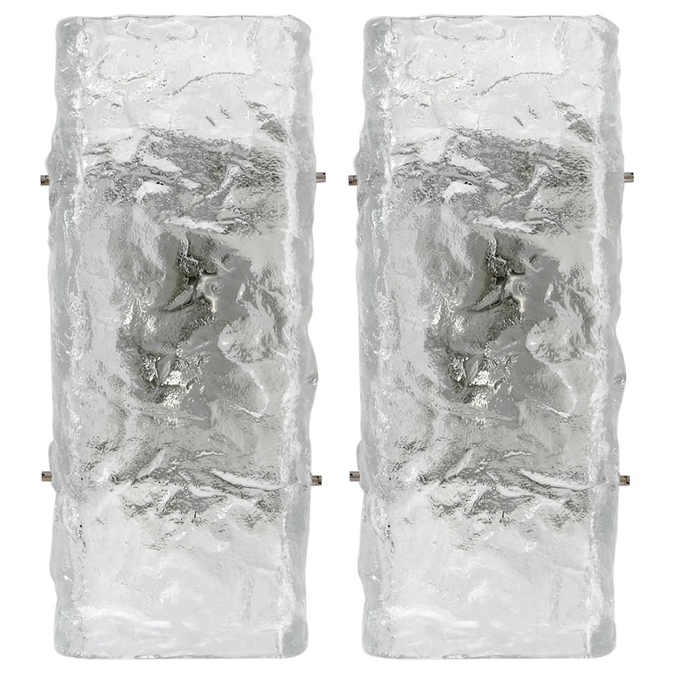 Pair of Kalmar Textured Glass Sconces, 1970