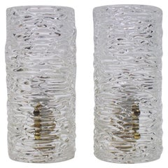 Pair of Kalmar Textured Glass Sconces Wall Lights, circa 1960