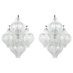 Pair of Kalmar Tulipan Wall Lights Sconces, Bubble Glass, 1970