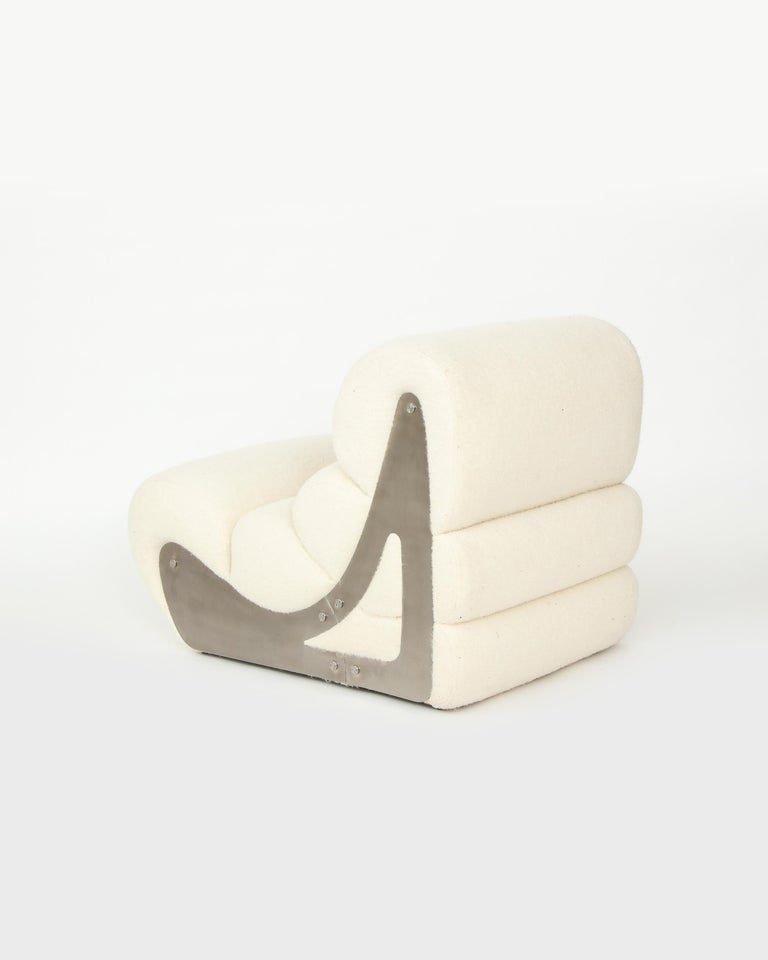 Pair of Sculptural Kappa Slipper Chairs, 1970s France For Sale 4