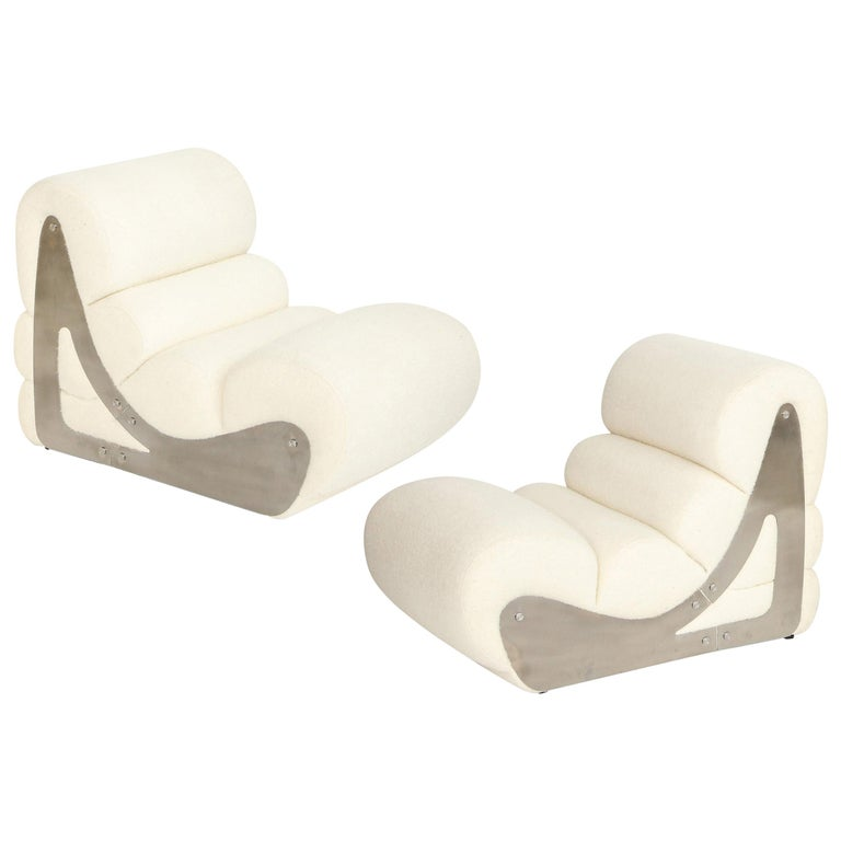 Pair of Sculptural Kappa Slipper Chairs, 1970s France For Sale