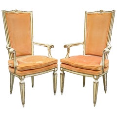Pair of Karges Italian Venetian Cream & Gold Distress Painted Dining Armchairs