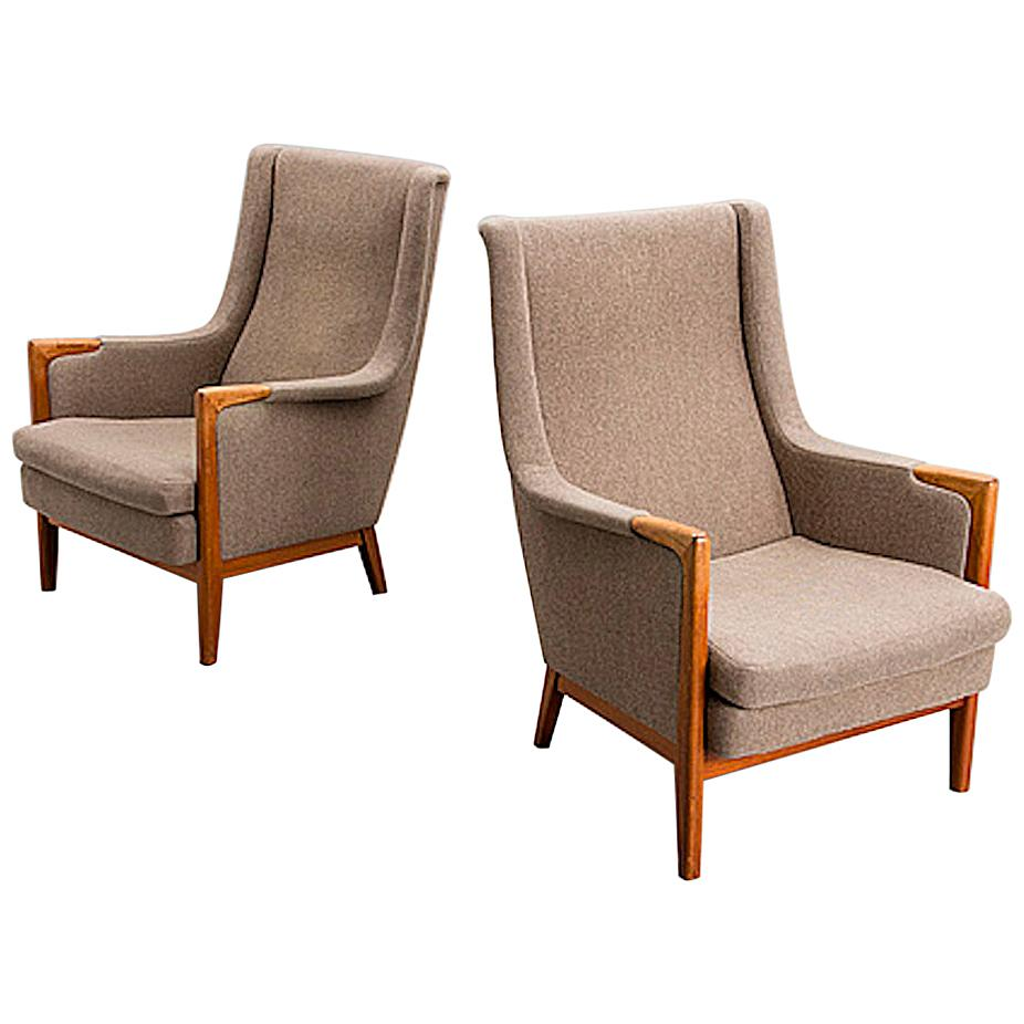 Pair of Karl Erik Ekselius for Joc Mobler Armchairs, 1950s Sweden Design