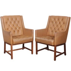 Pair of Karl Erik Ekselius Tufted Leather Chairs for JOC, Sweden