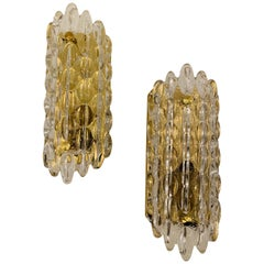 Pair of Karl Fagerland Orrefors Crystal Wall Lights