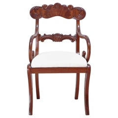Pair of Karl Johan Dining Armchairs in West Indies Mahogany, Sweden, circa 1830