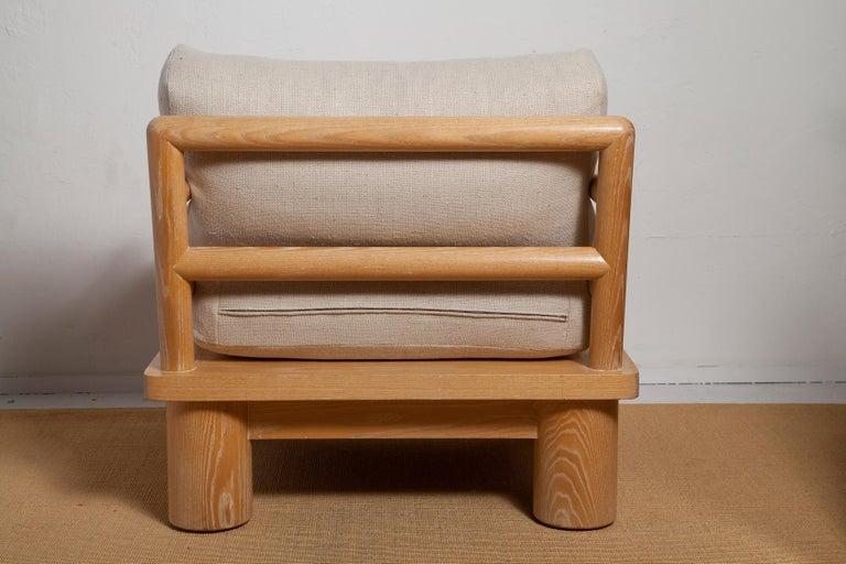 American Pair of Karl Springer Cerused Oak Dowelwood Chairs For Sale