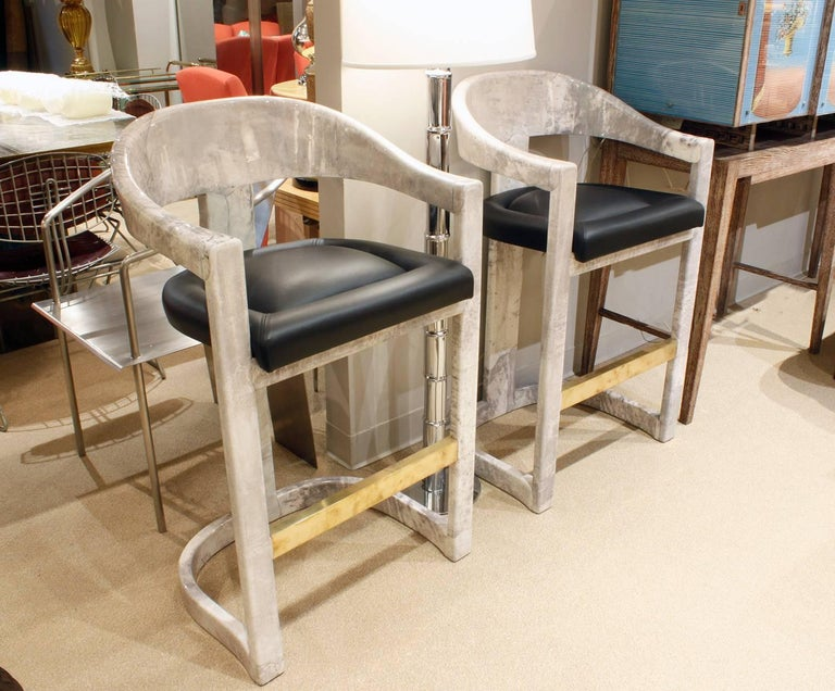 Hand-Crafted Pair of Karl Springer Goatskin Onassis Bar Stools, 1980s For Sale