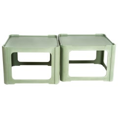 Pair of Karl Springer Leather Side Tables in Mint