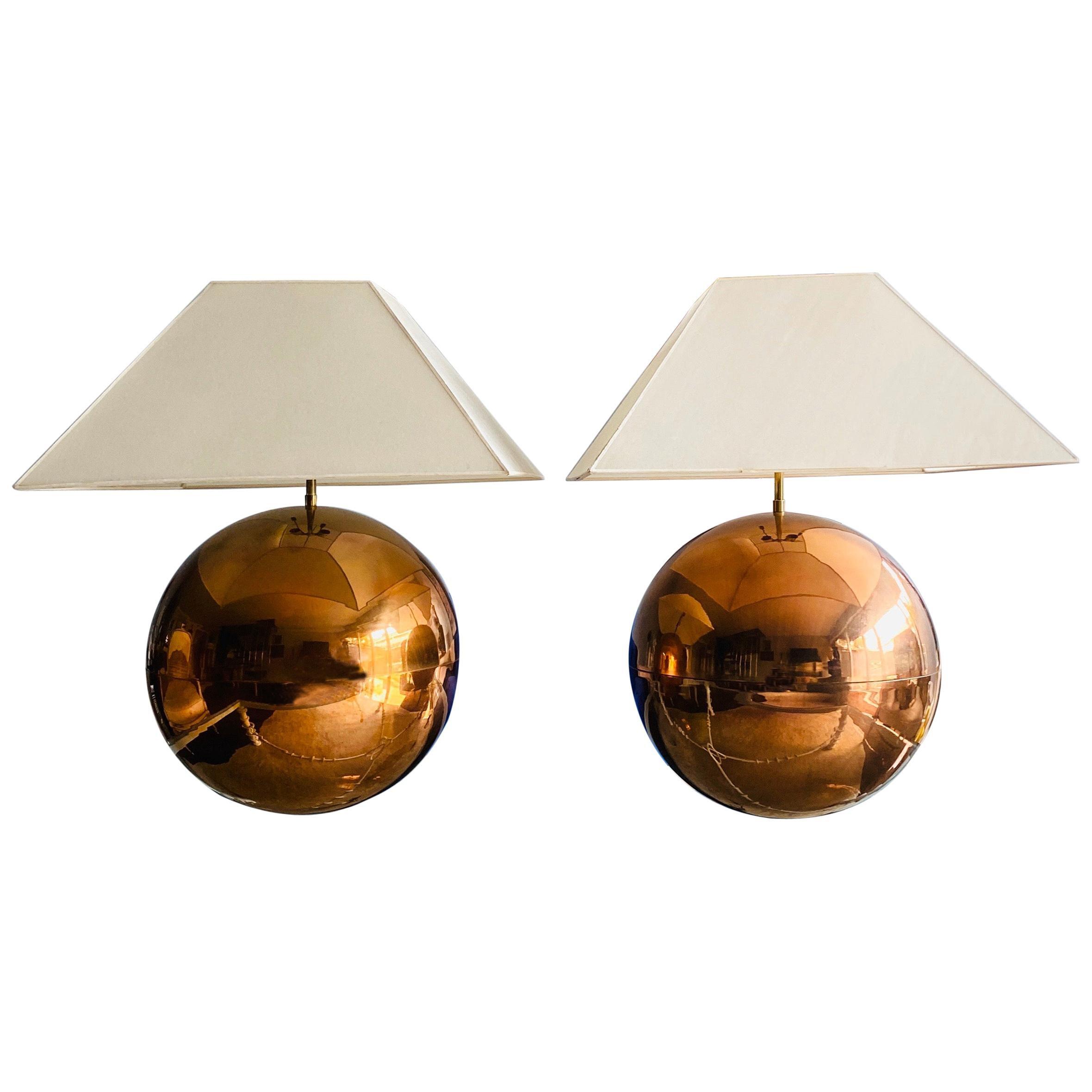 Pair of Karl Springer Metal Ball Lamp