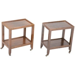 Pair of Karl Springer Snake Skin Two-Tier Side Tables