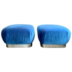 "Pair of Karl Springer ""Souffle Ottoman"" in Blue Velvet"