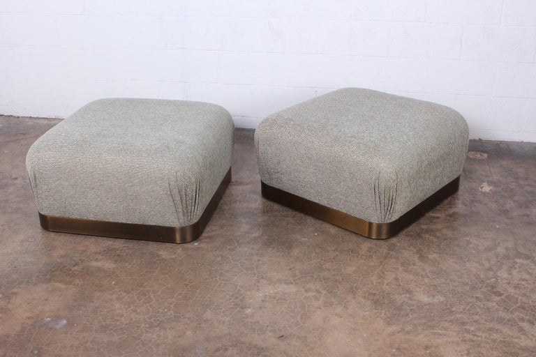 Pair of Karl Springer Souffle Ottomans or Poufs For Sale 7