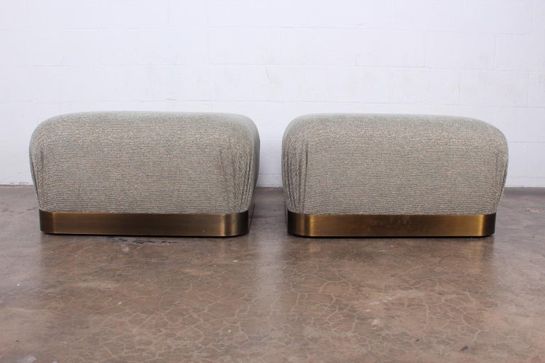 Late 20th Century Pair of Karl Springer Souffle Ottomans or Poufs For Sale
