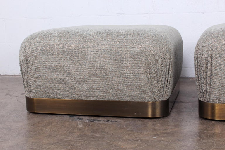 Pair of Karl Springer Souffle Ottomans or Poufs For Sale 1