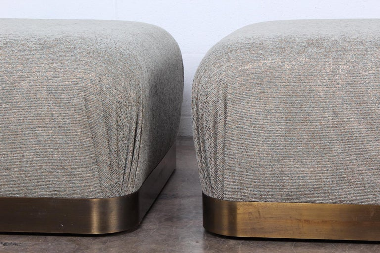 Pair of Karl Springer Souffle Ottomans or Poufs For Sale 2
