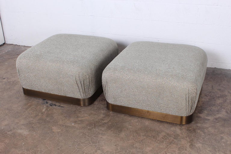 Pair of Karl Springer Souffle Ottomans or Poufs For Sale 3