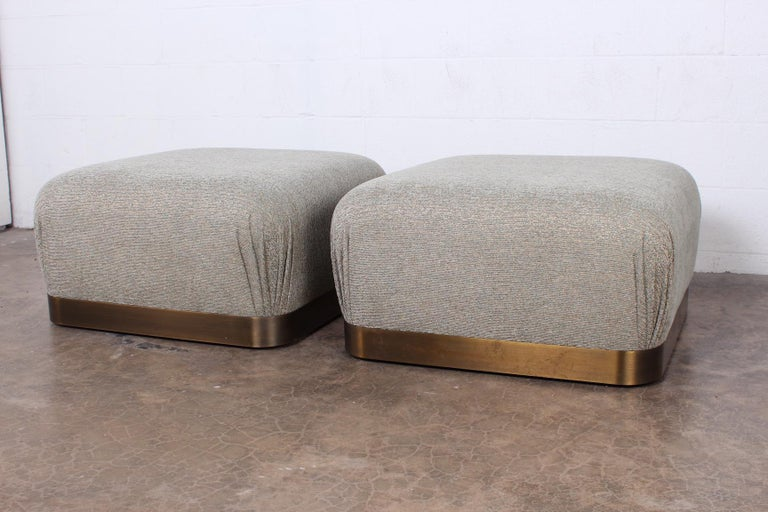 Pair of Karl Springer Souffle Ottomans or Poufs For Sale 4
