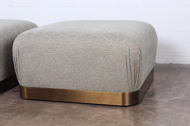 Pair of Karl Springer Souffle Ottomans or Poufs For Sale 5