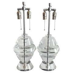Pair of Karl Springer Style Lucite Beehive Lamps, C. 1970s