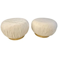 Pair of Karl Springer Style Oversized Ottoman or Poufs, Soufflé