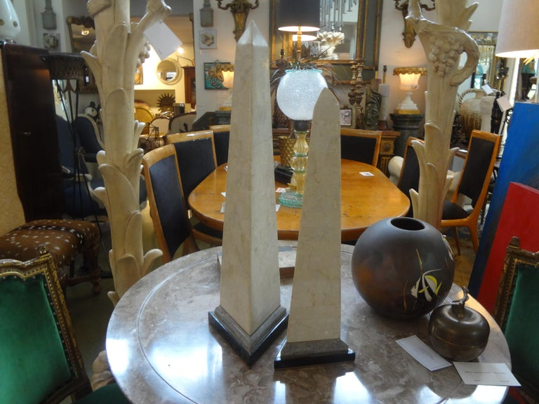 Pair of Karl Springer Style Tessellated Stone and Brass Obelisks For Sale 1
