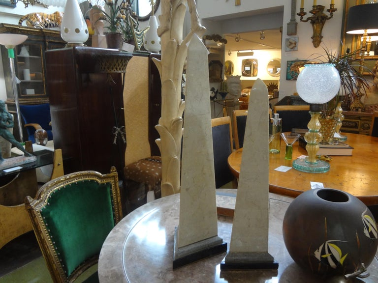 Pair of Karl Springer Style Tessellated Stone and Brass Obelisks For Sale 2