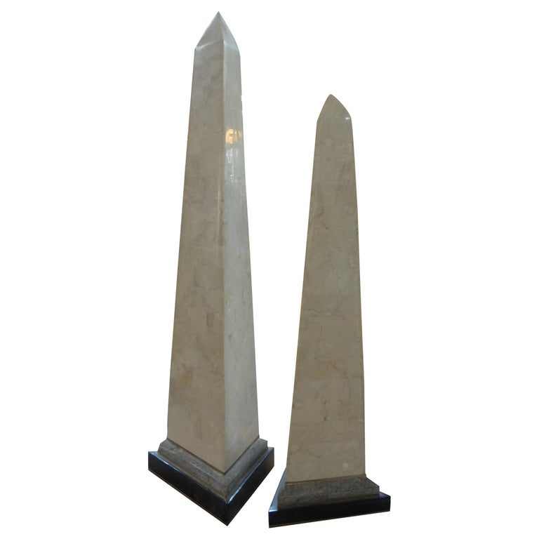 Pair of Karl Springer Style Tessellated Stone and Brass Obelisks For Sale