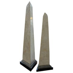 Pair of Karl Springer Style Tessellated Stone and Brass Obelisks