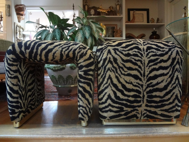 Mid-Century Modern Pair of Karl Springer Style Waterfall Ottomans or Benches with Brass Bases For Sale