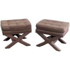 Pair of Karl Springer Style X Benches