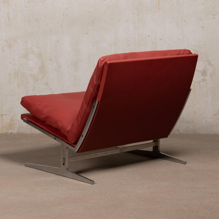 Pair of Kastholm & Fabricius BO-561 Lounge Chairs in Ruby Red Leather by Bo-Ex For Sale 3
