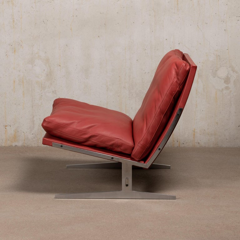 Pair of Kastholm & Fabricius BO-561 Lounge Chairs in Ruby Red Leather by Bo-Ex For Sale 4