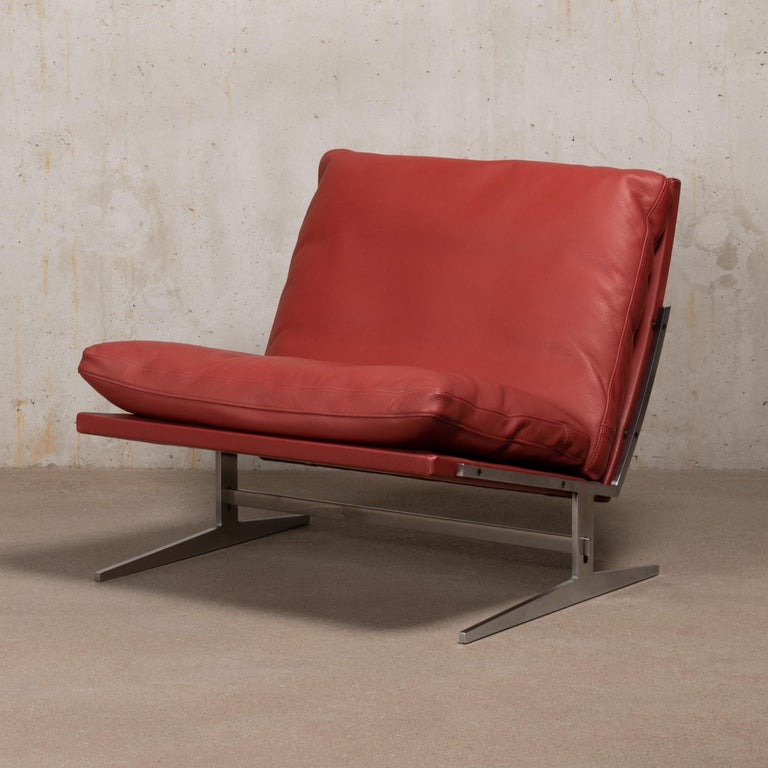 Pair of Kastholm & Fabricius BO-561 Lounge Chairs in Ruby Red Leather by Bo-Ex For Sale 5