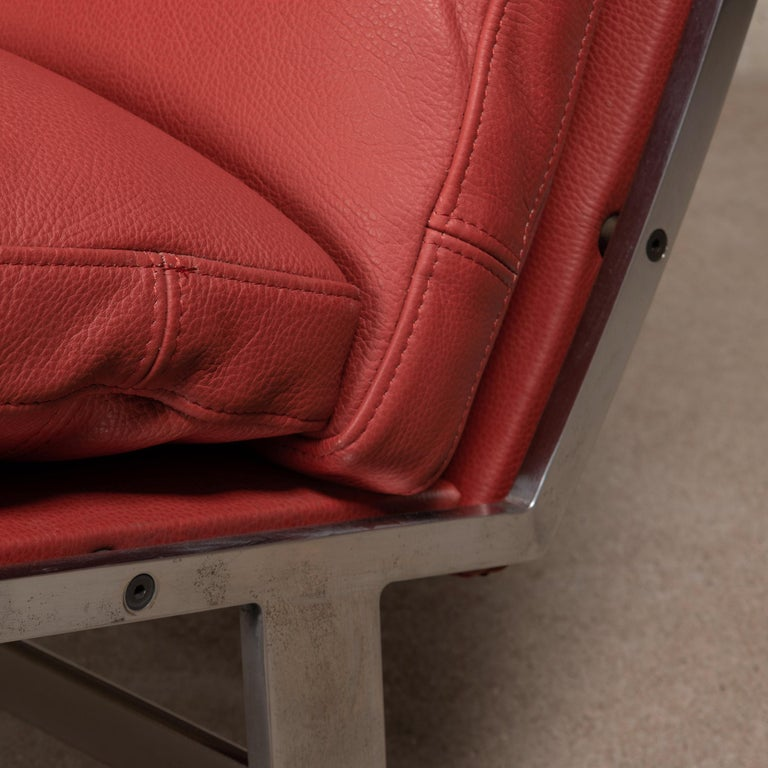 Pair of Kastholm & Fabricius BO-561 Lounge Chairs in Ruby Red Leather by Bo-Ex For Sale 6