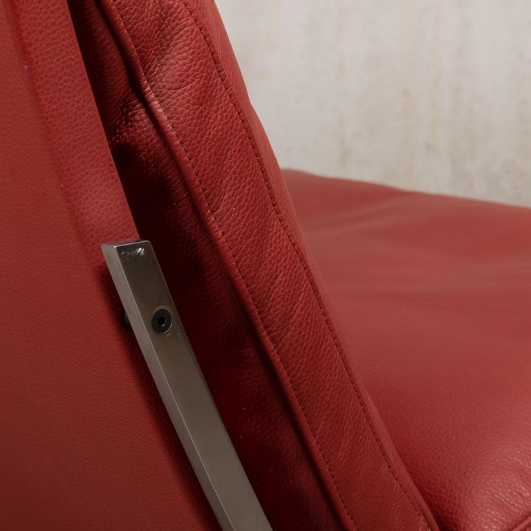 Pair of Kastholm & Fabricius BO-561 Lounge Chairs in Ruby Red Leather by Bo-Ex For Sale 11
