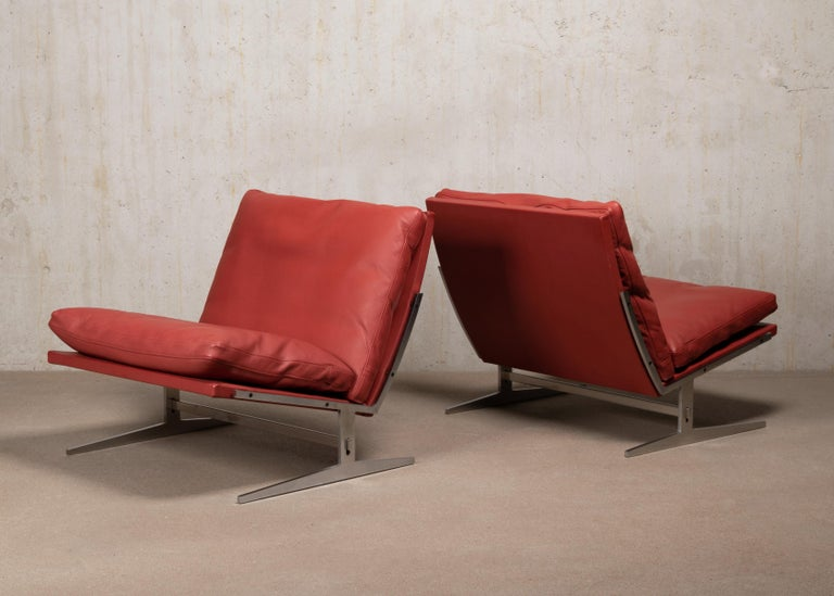 Scandinavian Modern Pair of Kastholm & Fabricius BO-561 Lounge Chairs in Ruby Red Leather by Bo-Ex For Sale