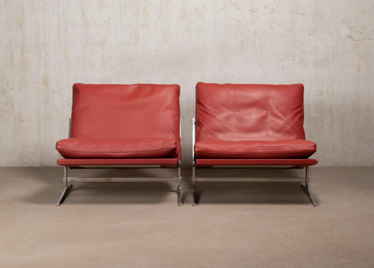 Danish Pair of Kastholm & Fabricius BO-561 Lounge Chairs in Ruby Red Leather by Bo-Ex For Sale