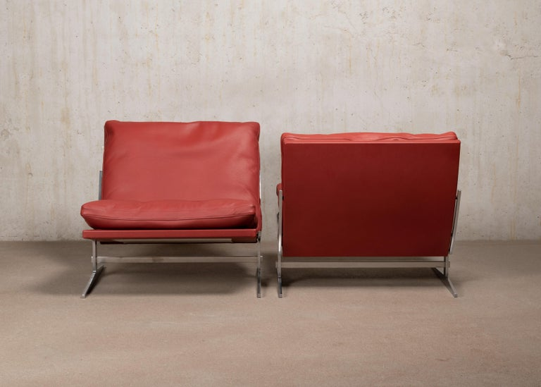 Polished Pair of Kastholm & Fabricius BO-561 Lounge Chairs in Ruby Red Leather by Bo-Ex For Sale