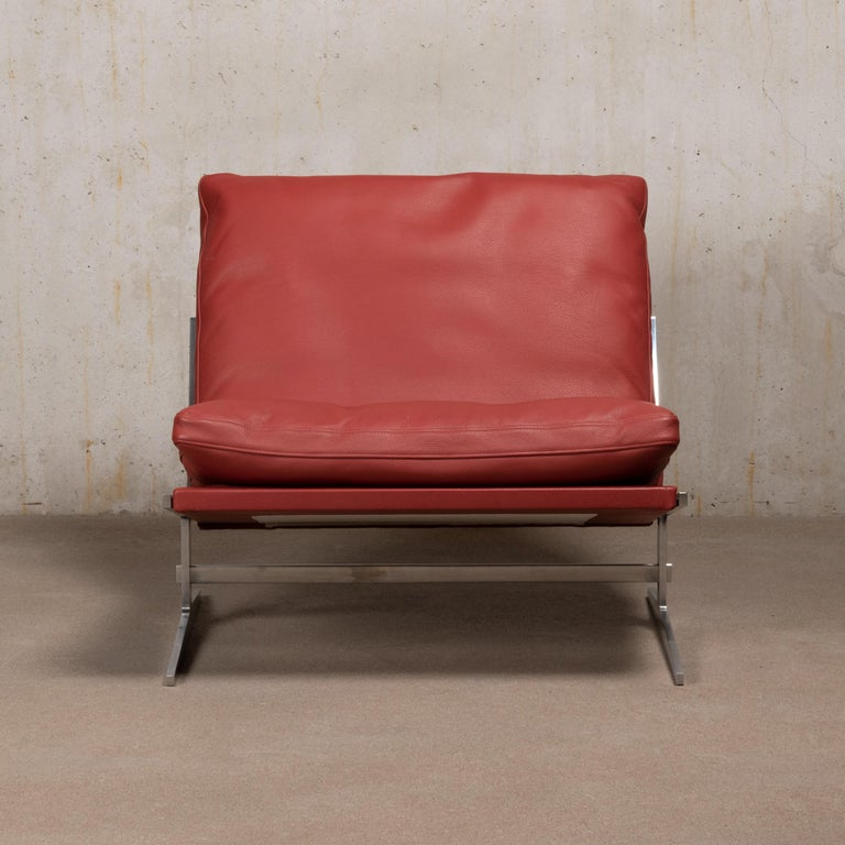 Pair of Kastholm & Fabricius BO-561 Lounge Chairs in Ruby Red Leather by Bo-Ex In Good Condition For Sale In Amsterdam, NL
