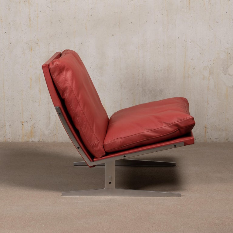 Mid-20th Century Pair of Kastholm & Fabricius BO-561 Lounge Chairs in Ruby Red Leather by Bo-Ex For Sale