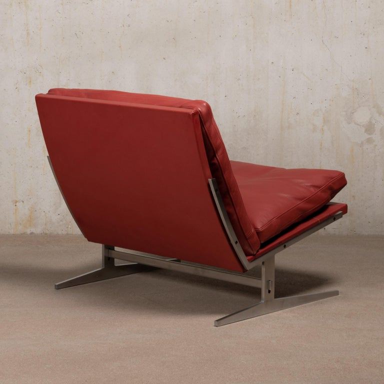 Pair of Kastholm & Fabricius BO-561 Lounge Chairs in Ruby Red Leather by Bo-Ex For Sale 1