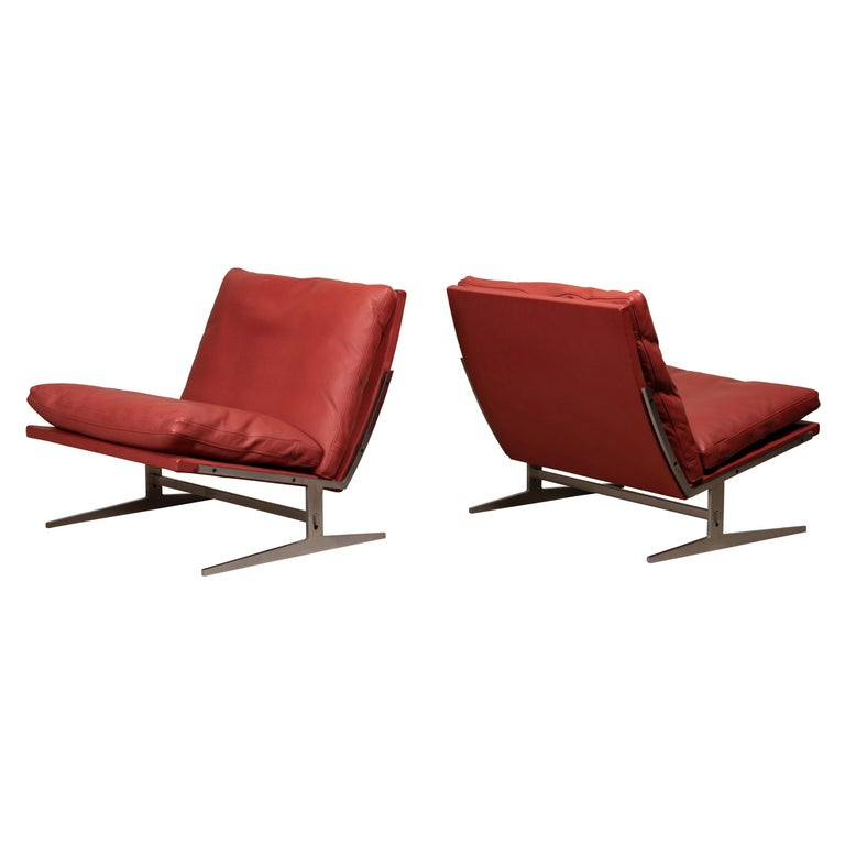 Pair of Kastholm & Fabricius BO-561 Lounge Chairs in Ruby Red Leather by Bo-Ex For Sale